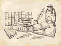 Composition de vieux livres d'écriture illustration de vecteur