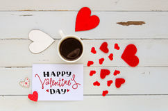 Composition de vintage de jour du ` s de St Valentine de note avec la salutation de jour du ` s de Valentine Photographie stock libre de droits