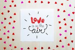 Composition de vintage de jour du ` s de St Valentine de note de salutation avec le lettrage Images stock