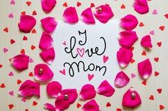 Composition de vintage de jour du ` s de Valentine de note de salutation avec le lettrage tiré par la main Photos libres de droits