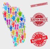 Composition de vote Dominica Island Map et le meilleur Président grunge Stamp illustration stock