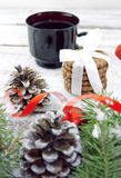 Composition with decorated Christmas tree, cup with coffee and c Royalty Free Stock Photos