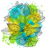 Composition with decorative flowers and leaves in doodle style Royalty Free Stock Images