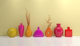 Composition with decorative pottery. Stock Photos