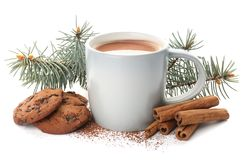 Composition with delicious hot cocoa drink and cookies. On white background stock image
