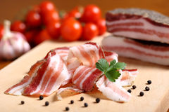 Delicious meals Italian salami bacon Stock Image