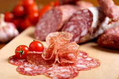 Delicious meals Italian salami Stock Photography