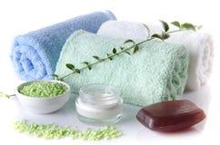 Composition des accessoires d'hygiène et de bien-être Image libre de droits