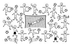 Composition des dessins de bande dessinée de petits hommes Le football et le football Illustration de vecteur illustration stock
