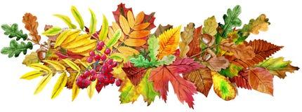 Composition des feuilles d'automne La carte postale de salutation invitent l'espace décoratif de copie illustration stock