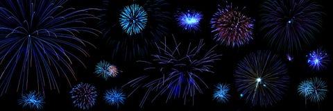 Composition des feux d'artifice bleus Photos libres de droits