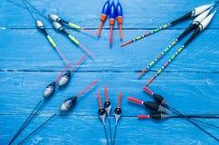 Composition des flotteurs de pêche Composition sous forme d'étoile Copyspace Images libres de droits