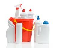 Composition des nettoyeurs blancs avec la position rouge photographie stock
