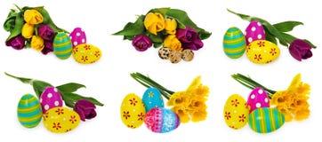 Composition des oeufs de pâques, fleurs, tulipes Oeufs de pâques dans le mult Image libre de droits