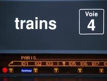 Composition des trains à destination de Paris. Train station information board showing composition of wagons Stock Photography