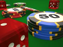 Composition of dice and casino chips. royalty free illustration