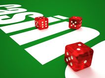 Composition of dice and casino chips. vector illustration