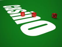 Composition of dice and casino chips. stock illustration