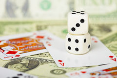 Composition of dices on gambling theme Stock Image