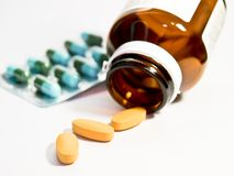Variety of drug pills Royalty Free Stock Image