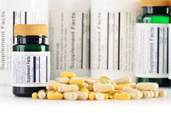 Composition with dietary supplement capsules. Drug pills Royalty Free Stock Photo