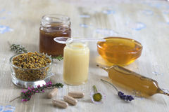 Composition with dietary supplement  - organic honey bee product Stock Image