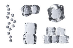 Composition of different 3D ice cubes Stock Images