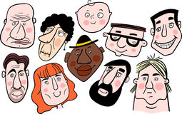 Composition of different cartoon faces Stock Photos