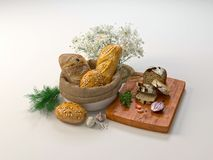 Composition with different kind of bread and buns isolated on white. 3D illustration vector illustration