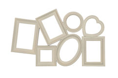 Composition of different photo frames of beige color Stock Photos