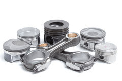 Composition of different rods and all kinds of pistons Stock Image