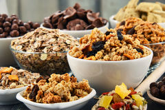 Composition with different sorts of breakfast cereal products Royalty Free Stock Photography