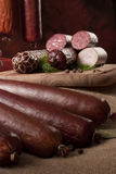 A composition of different sorts of sausages Royalty Free Stock Images