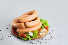 A composition of different sorts of sausages and meat Stock Photos