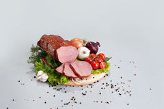A composition of different sorts of sausages and meat Royalty Free Stock Image