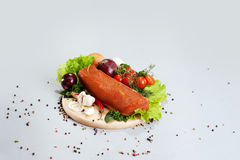 A composition of different sorts of sausages and meat Stock Photography