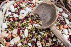 Composition of different types of legumes. Chickpeas, red lentil stock photography