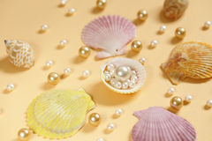 Composition of the different types of pearls Stock Photography
