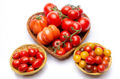 Composition of different varieties of tomatoes Stock Photo