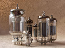 Composition of different vintage electronic vacuum tubes. Royalty Free Stock Photography