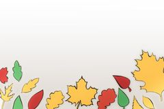 Composition of drawn autumnal leaves Stock Photo