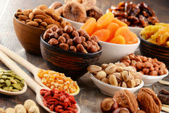 Composition with dried fruits and assorted nuts Royalty Free Stock Photos