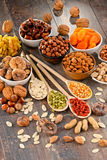 Composition with dried fruits and assorted nuts Stock Photography