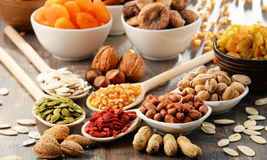 Composition with dried fruits and assorted nuts Royalty Free Stock Photo