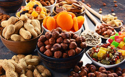 Composition with dried fruits and assorted nuts Stock Image