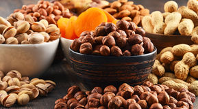 Composition with dried fruits and assorted nuts Royalty Free Stock Images