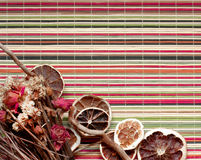Composition of dried fruits and flowers Stock Photo