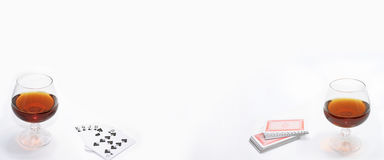 Composition of drinking and playing cards. Royalty Free Stock Photo