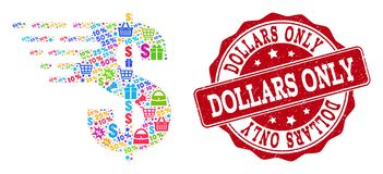 Composition du dollar de mosaïque et de timbre de détresse à vendre illustration libre de droits