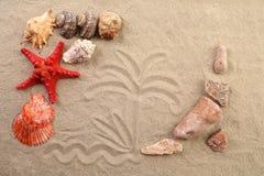 Composition du sable, des coquilles, des pierres et des étoiles de mer. photo libre de droits